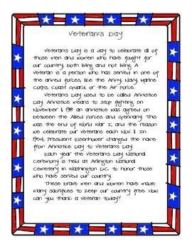 Veteran's Day Reading Passage ...