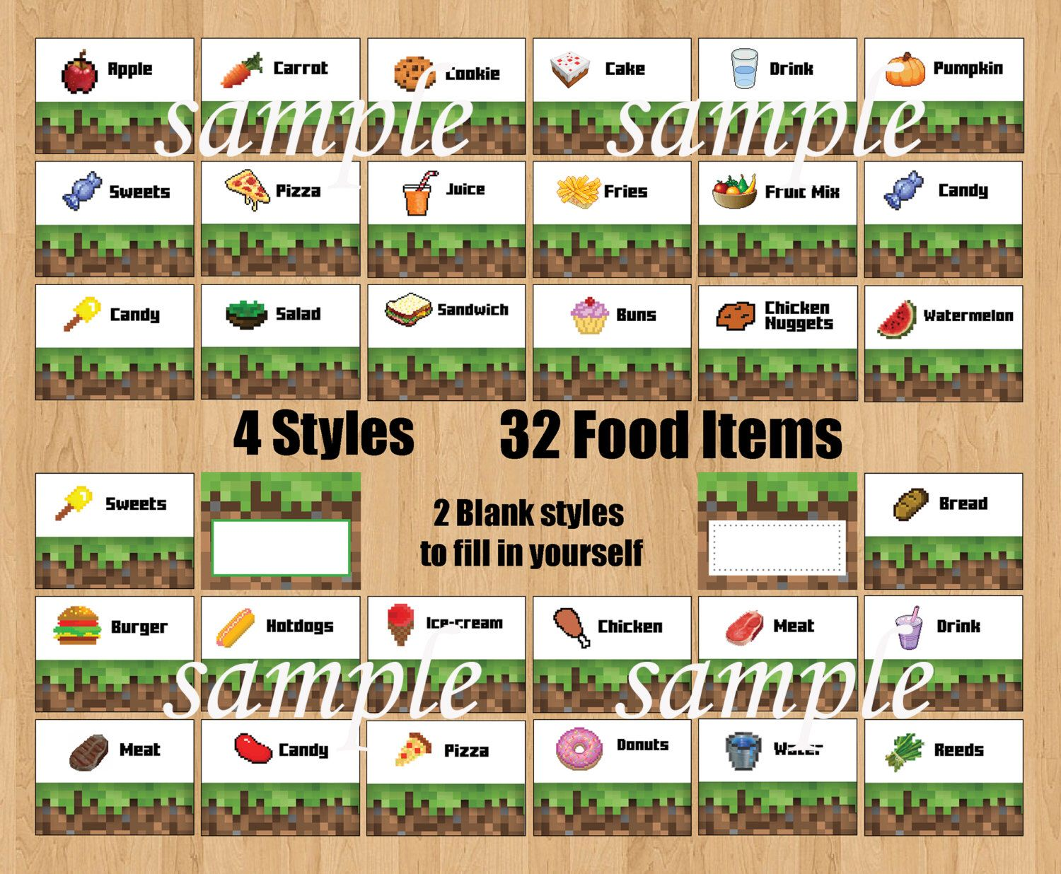 picture regarding Minecraft Printable Food Labels called Pin as a result of Megan Wininger upon Youngsters occasion Minecraft food stuff