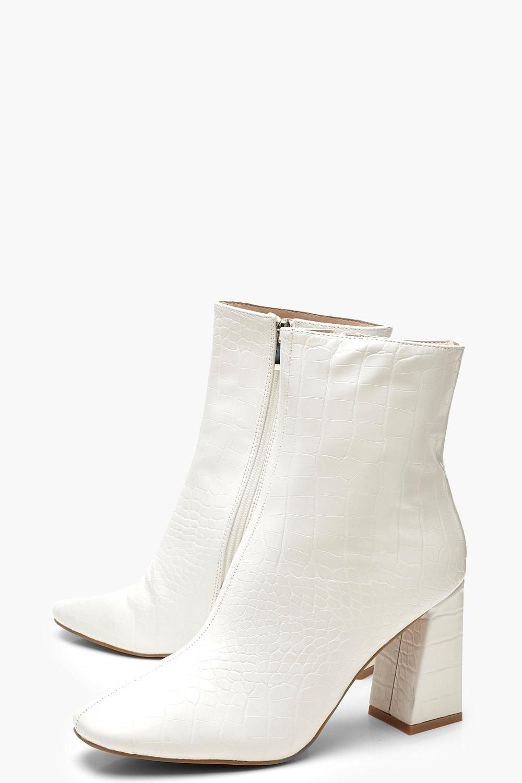 White Croc Block Heel Shoe Boots | boohoo