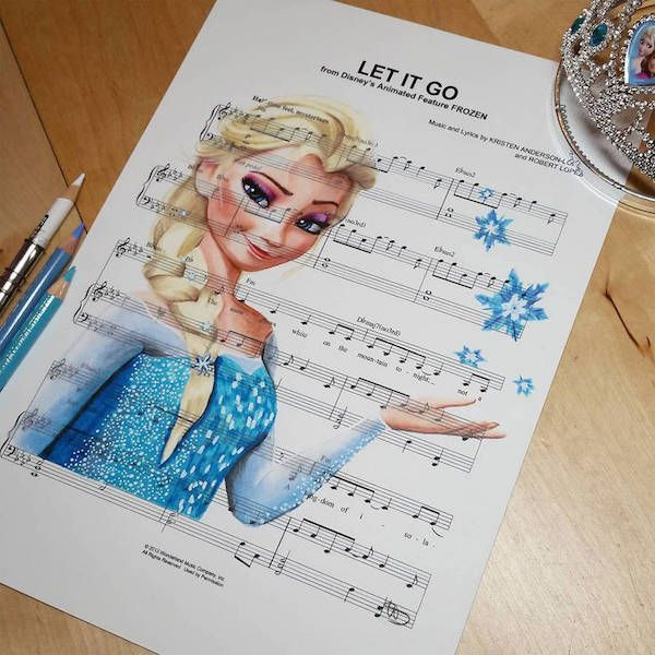 Drawings Of Disney Characters Made On Sheet Music Of The Songs From Their Movies