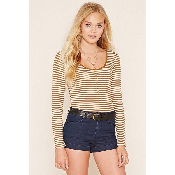 Forever 21 Womens Striped Ribbed Knit Tee 990 Liked On