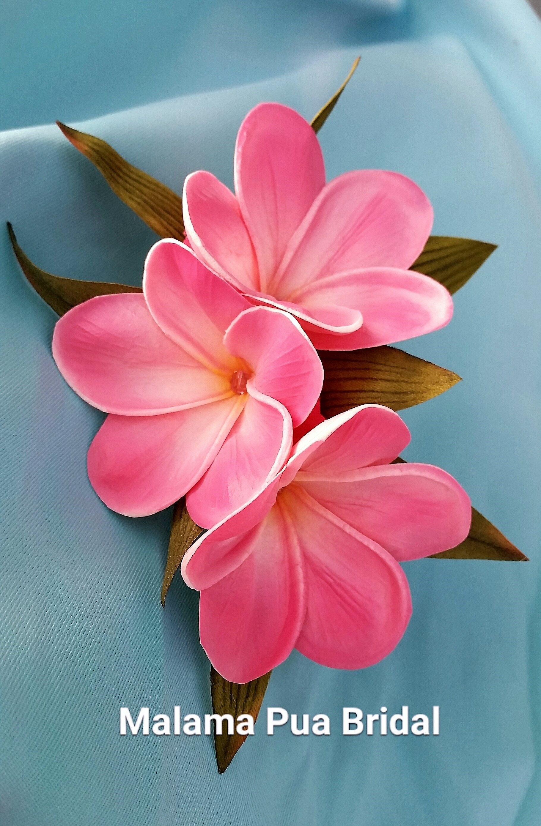 NEW Hawaiian Bridal Wedding Party Foam 2-Flower Hair Clip Blue White Plumeria