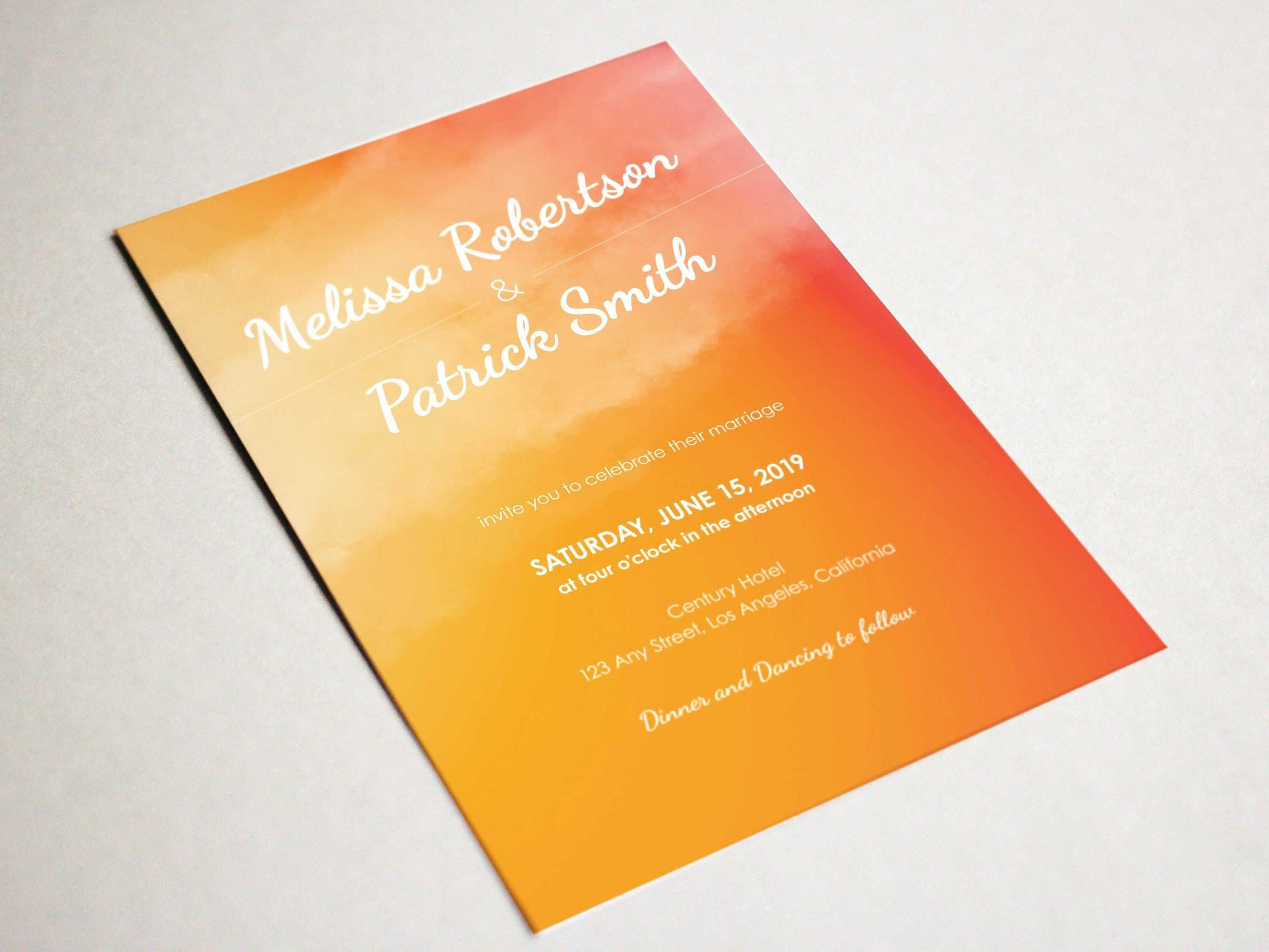 Orange Printable Ombre Watercolor Wedding Invitations ...