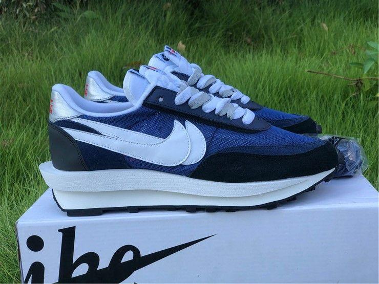 Fragmentdesign x sacai x nike ldwaffle navy blue shoes