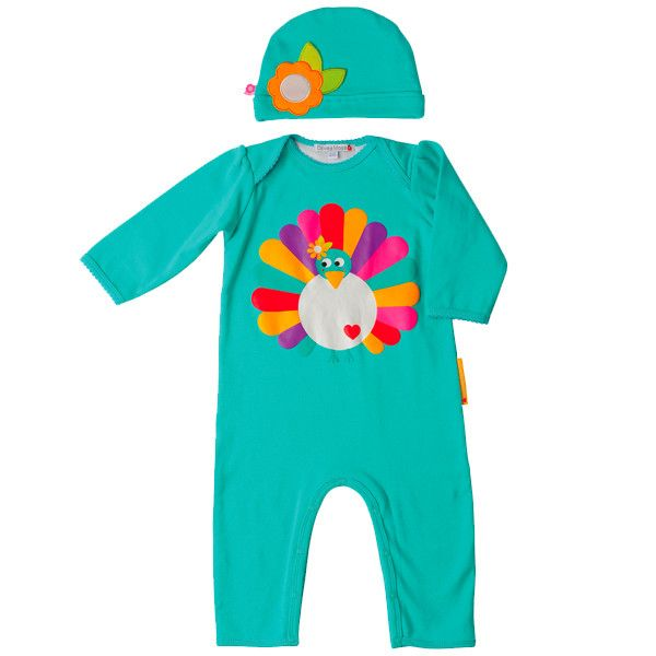 Poppy the Peacock playsuit and hat by Olive  I found this on www.burpboutique.com