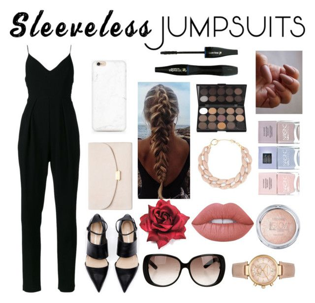 """Sleeveless jumpsuits"" by liliacc ❤ liked on Polyvore featuring Zimmermann, Mansur Gavriel, Gucci, DIANA BROUSSARD, Michael Kors, Lime Crime, Nails Inc., Lancôme and sleevelessjumpsuits"