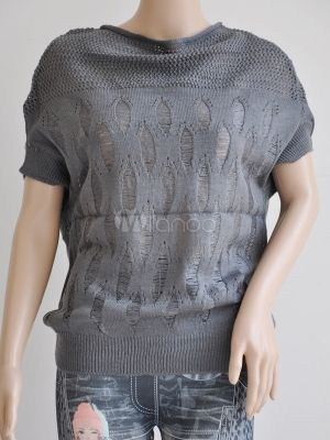 Gray Cotton Blend Batwing Sleeve Women's Knitting Sweater by Milanoo