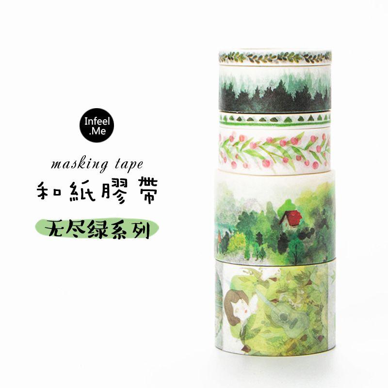 20 pcs/lot DIY Japanese Paper Decorative Adhesive Tape Cartoon Endless green series Washi Tape/Masking Tape Stickers #Affiliate