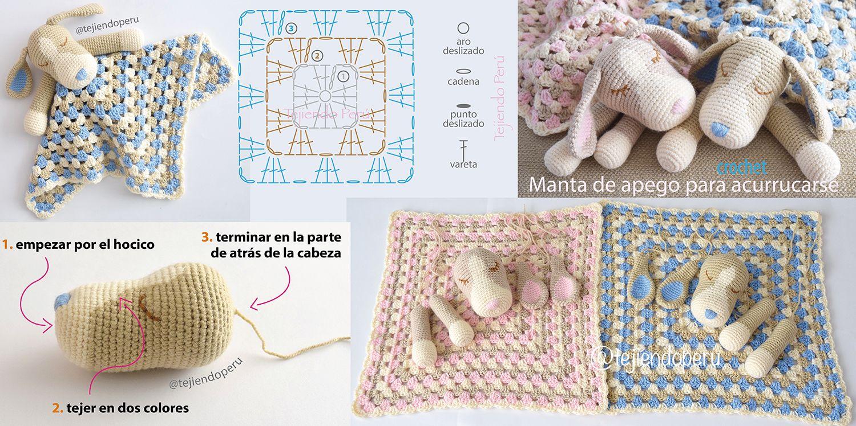Crochet paso a paso: colcha con perritos o manta de apego para ...