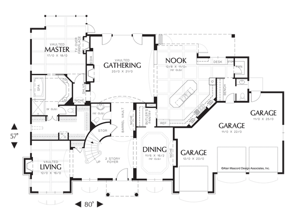Main Floor Plan Of Mascord Plan 2428 The Marigold French Country Plan With Curved Staircase House Plans European House Floor Plan Design
