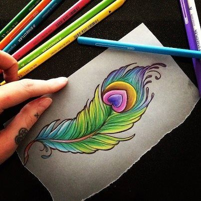 Feather sketch, love! Wouldnt do a heart in middle.