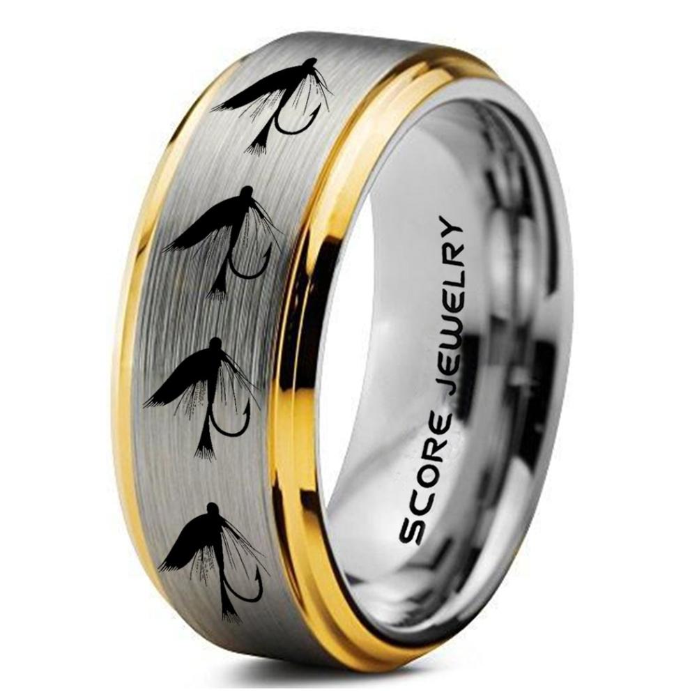 Fly Fishing Ring Fly Fishing Lure Ring Lure Ring Fishing Jewelry Fly Fishing Jewelry Fishing Ring Fish Hook Ring Silver Tungsten Ring Silver Wedding Ban In 2020 Silver Wedding Bands Hunting