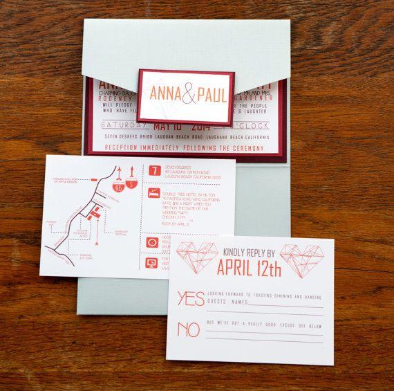 Architecture blueprint inspired pocket wedding invitation set