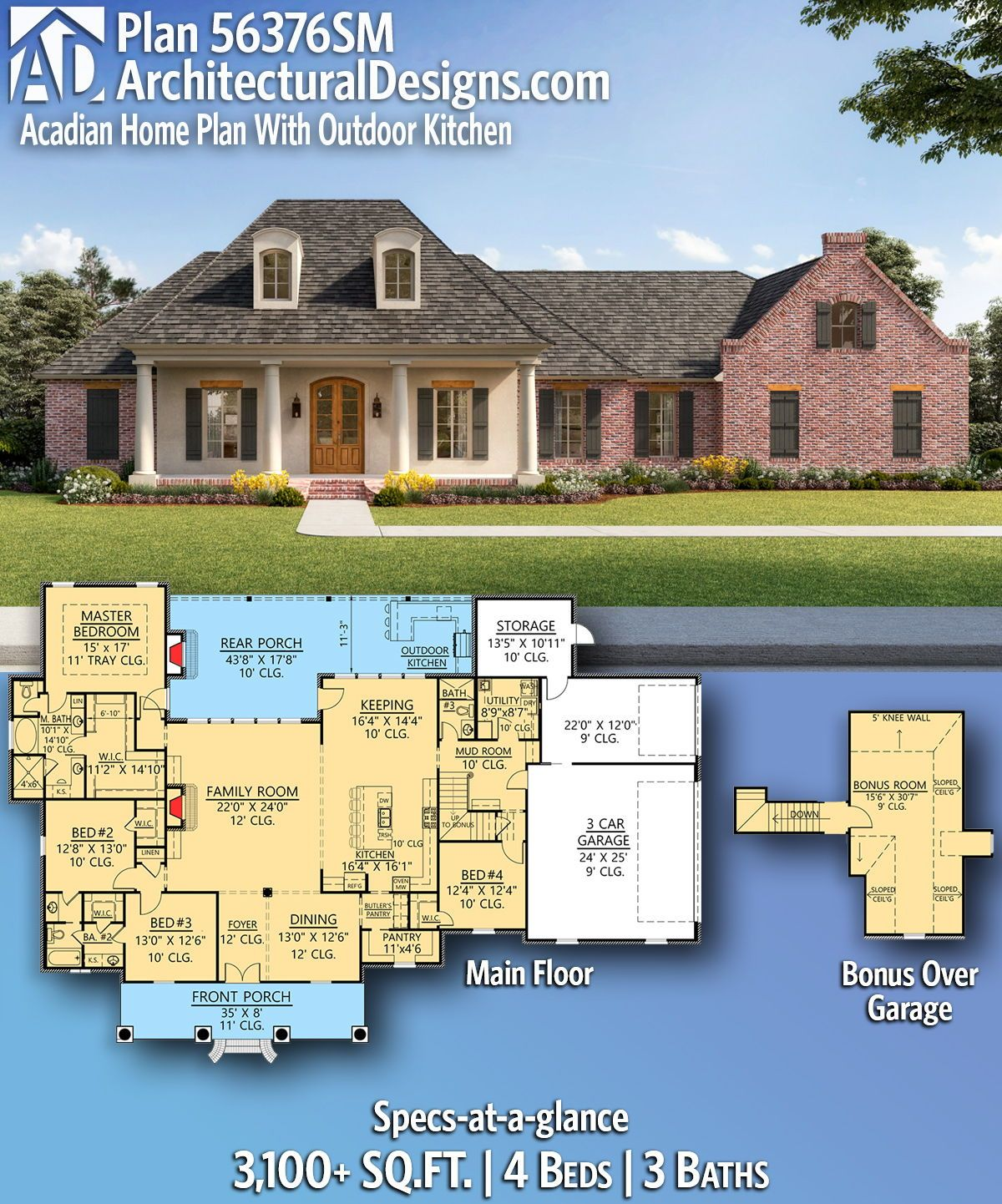 Plan 56376sm Acadian Home Plan With Outdoor Kitchen Acadian Homes House Plans Single Story House Floor Plans
