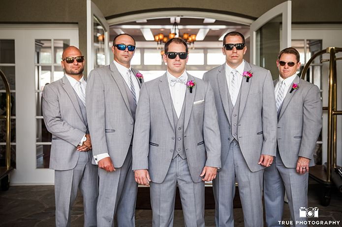Groomsmen, gray suit, yellow tie. I love gray but their shoes need ...