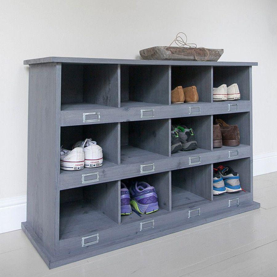 Chic 12 Shoe Locker In Charcoal Sample Lockers Rustic  # Casier Acacia Blanchie