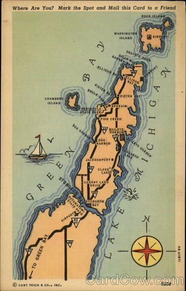 Map Of Michigan Between Green Bay And Lake Michigan In 2020 Door County Wisconsin Lake Michigan Map Door County
