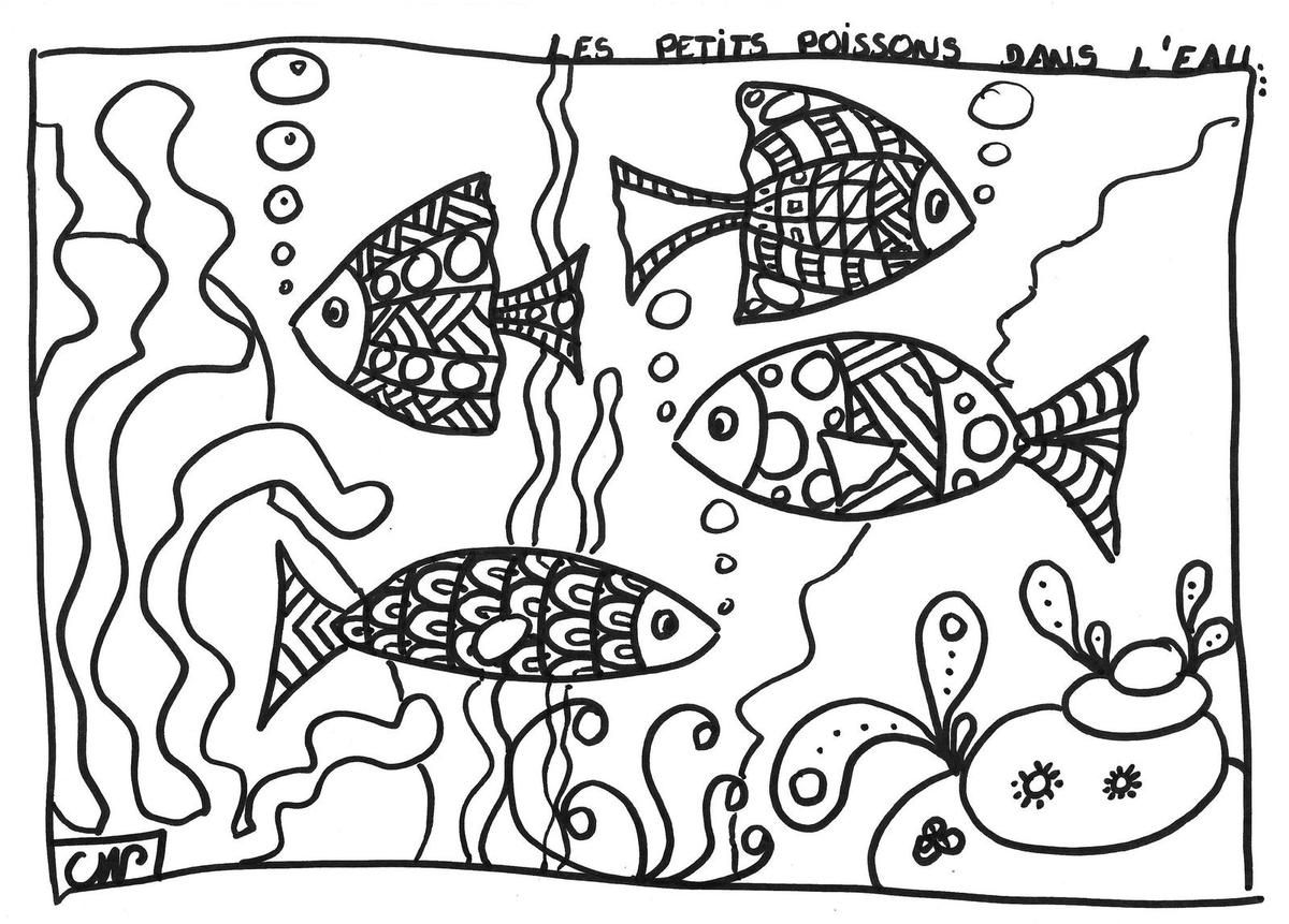 Coloriages les petits poissons zentangles fish and adult coloring - Coloriage poissons ...