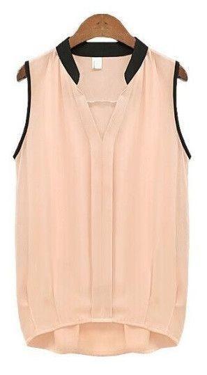 ff96b73f2a3b6 Women s Casual Chiffon Blouse Solid Sleeveless Shirt