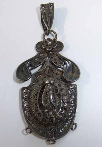Victorian Silver Filigree Fly Insect Mourning Locket Pendant