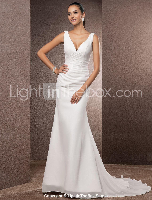 8a5bca9523 Wedding Dress Trumpet Mermaid Court Train Chiffon V Neck Bridal Gown