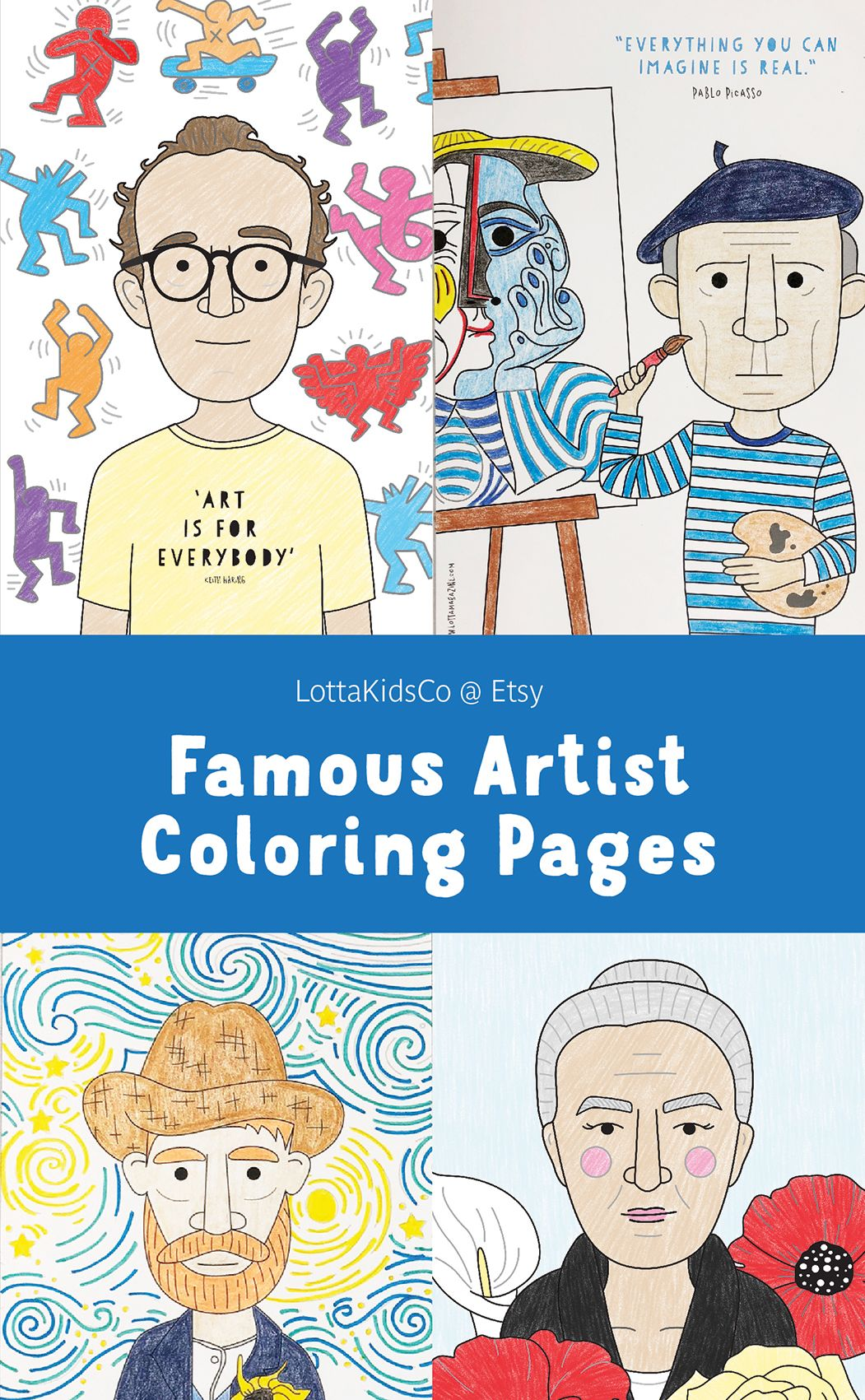 Famous Artist Coloring Pages For Kids Art History Projects For Kids Art History Lessons Famous Art Coloring