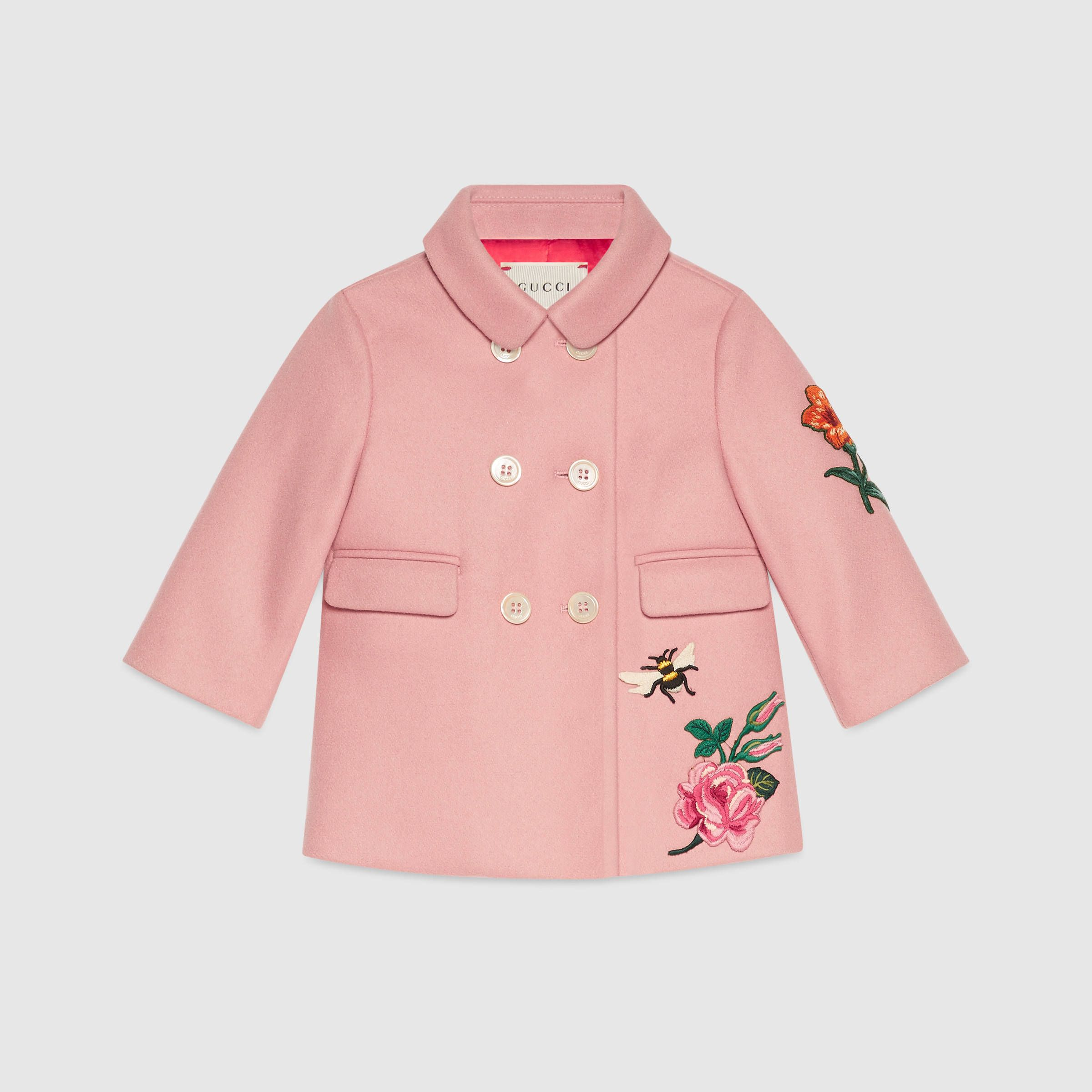 Gucci Children Baby embroidered wool cashmere coat