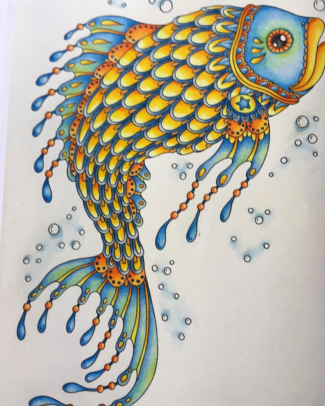 Big Fish Hannakarlzon Magicaldawn Polychromos Colouredpencil Colour Colouringbook Colouring Colouringin Fish Drawings Color Pencil Art Coloring Books