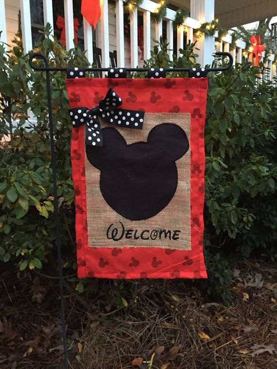 Mouse Head Embroidered Burlap Garden Flag Door Hanger | mickey mouse ...