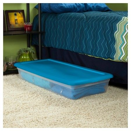 Sterilite Under Bed Storage Adorable Sterilite® Plastic Storage Bin Clear With Blue Lid 1025Gal Inspiration