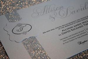 Sparkling Silver Glitter Wedding Invitations Glitter wedding
