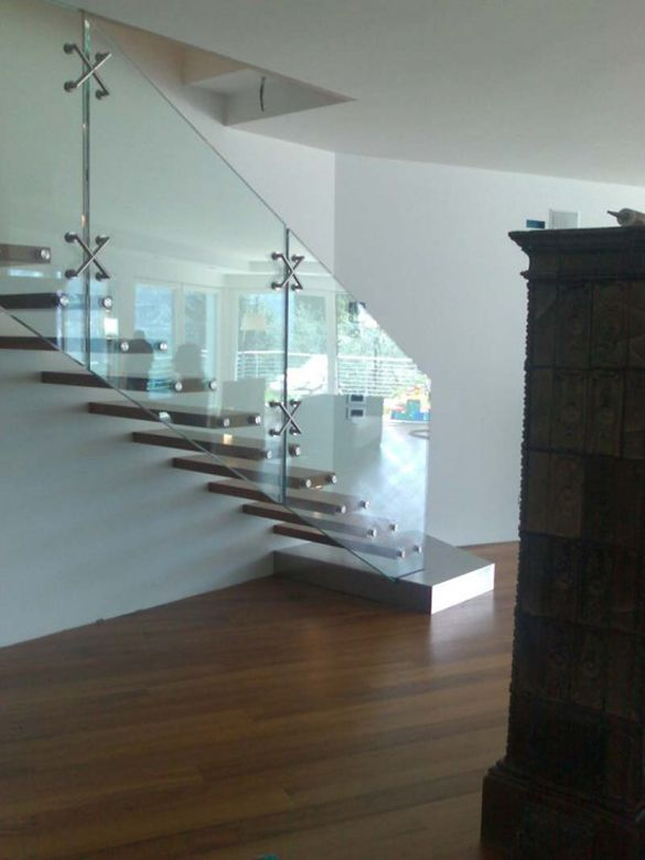 glass staircase..