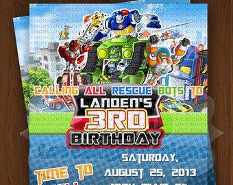 Rescue Bots Invitation Birthday Invitations Party Supplies Printables