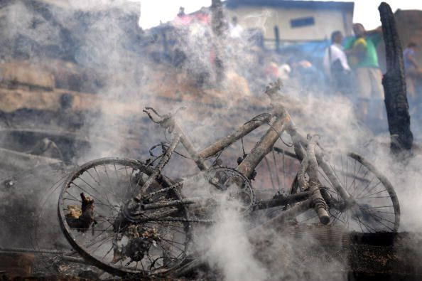 News Photo: bicycle burns after a fire broke out in…