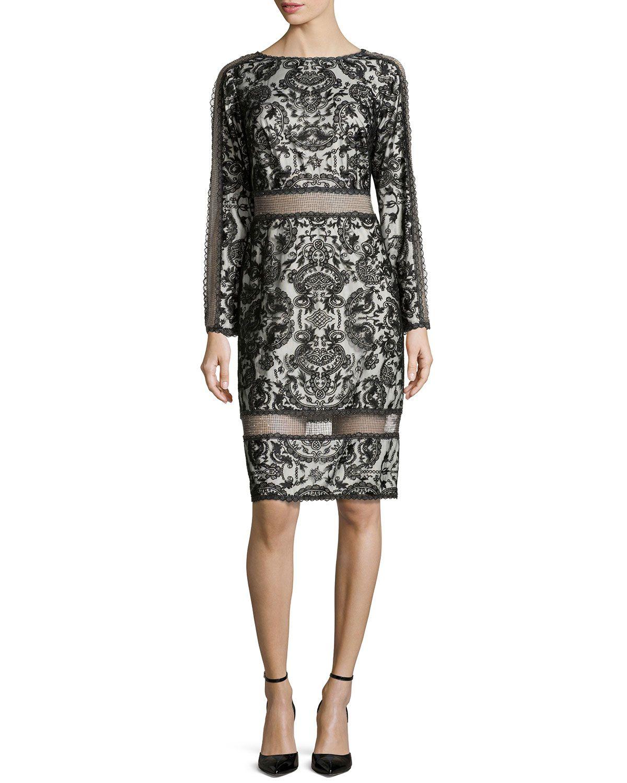Lace longsleeve dress blackivory size tadashi shoji