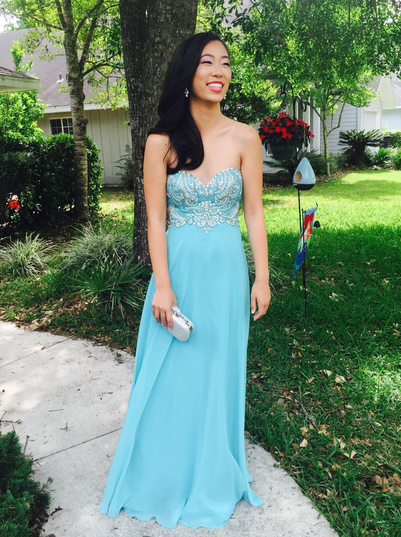 Light blue prom dressessweetheart prom gownssparkle prom