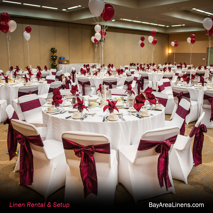 Our White Spandex Chair Covers And Burgundy Crinkled Taffeta