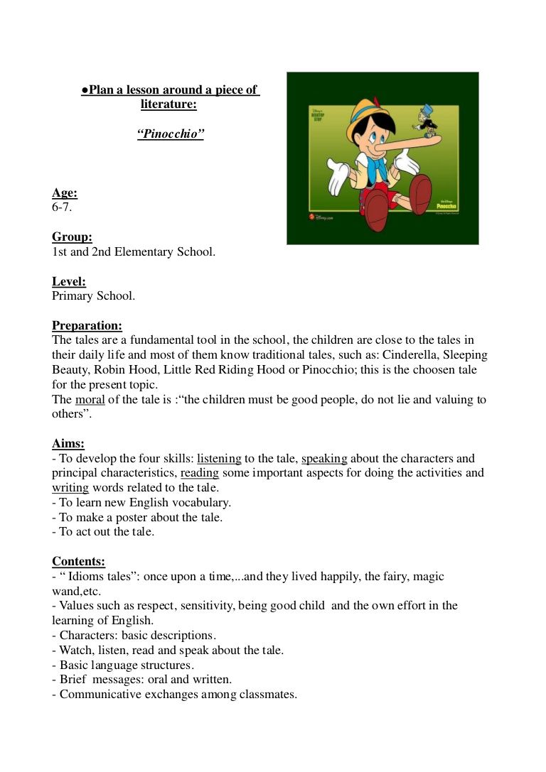 Plan A Lesson Around A Piece Of Literature Pinocchio Teaching Plan Writing Activities [ 1087 x 768 Pixel ]