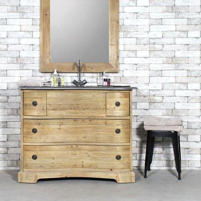 Meuble salle de bain 1 vasque AuthentiQ en vieux pin KH06 Interiors - meuble salle de bain pierre naturelle