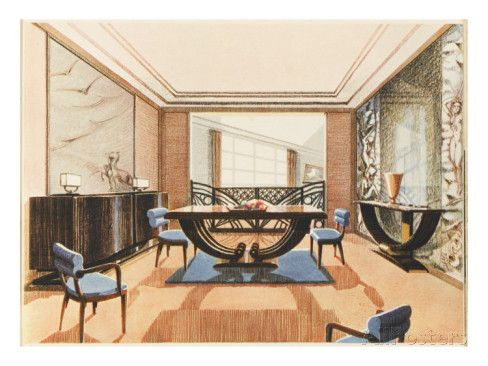 An Elegent Art Deco Dining Room Giclee Print