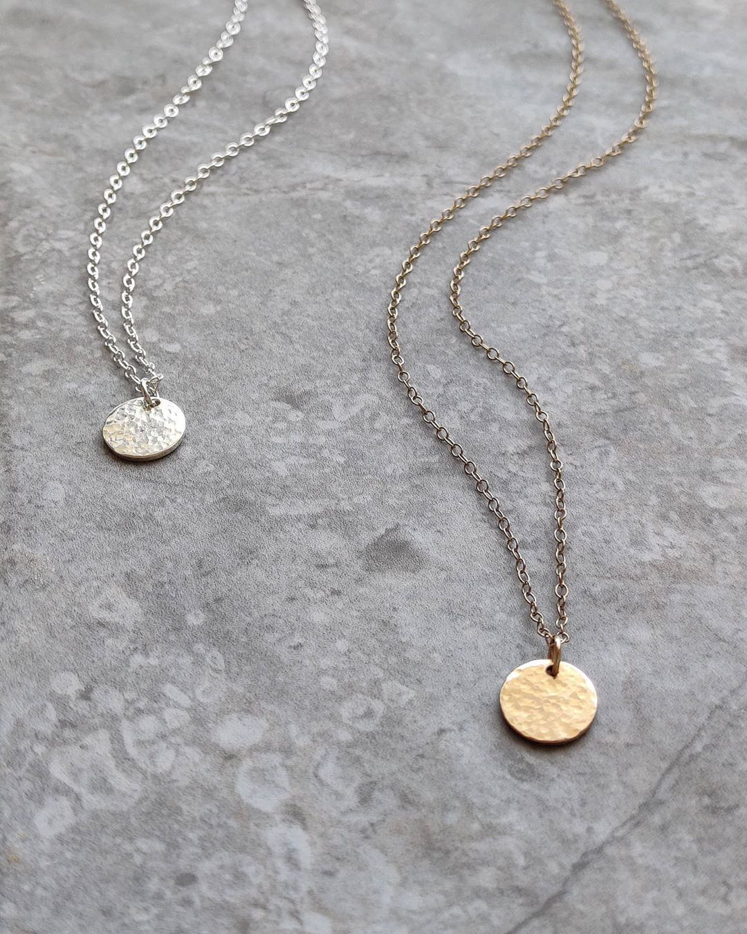 Our textured coins in silver and gold.