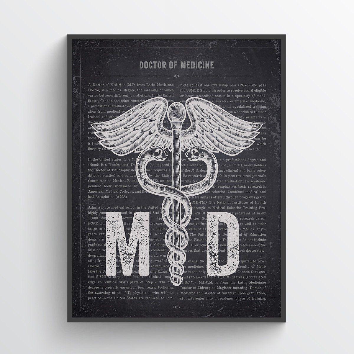 MD Gift, Doctor of Medicine print, MD Graduation gift idea