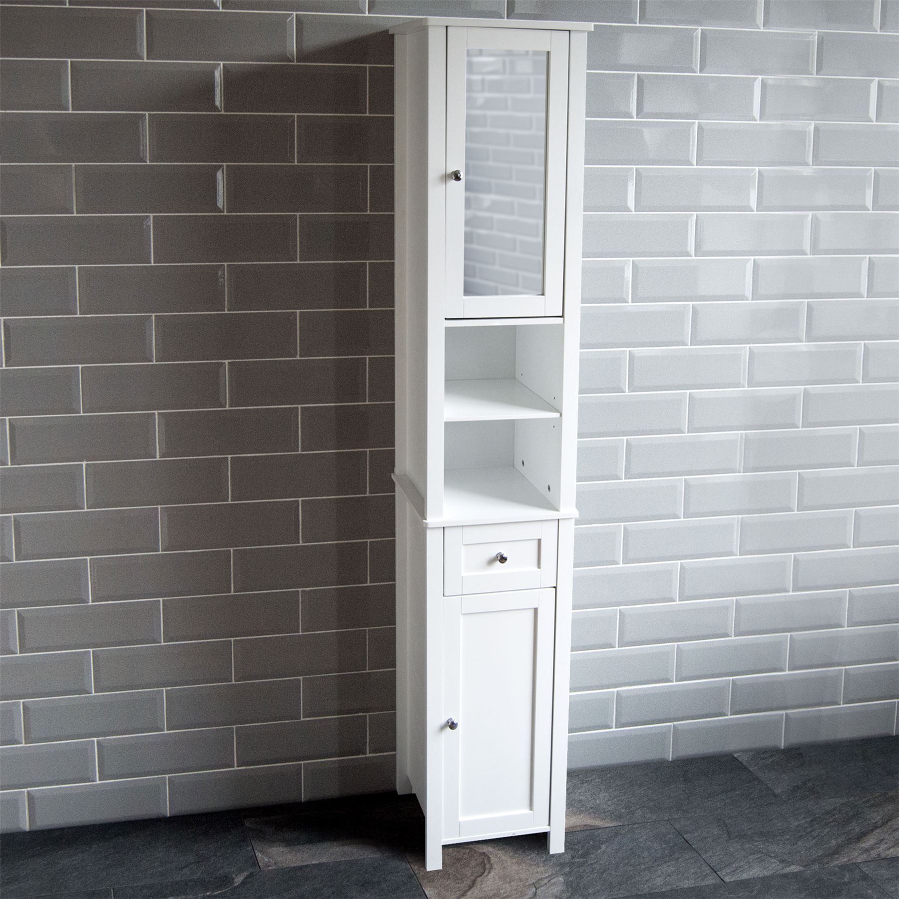 Bathroom Cabinet Single Double Door Wall Mounted Tallboy Cupboard Mdf White Grey Ebay Bathroom Tall Cabinet Tall Bathroom Storage Tall Bathroom Storage Cabinet