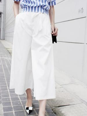 White High Waist Wide Leg Trousers