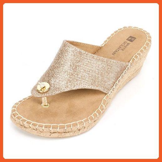 001d6856b1e17 White Mountain Women's Beachball Wedge Sandal,Light Gold Glitter,8 M ...