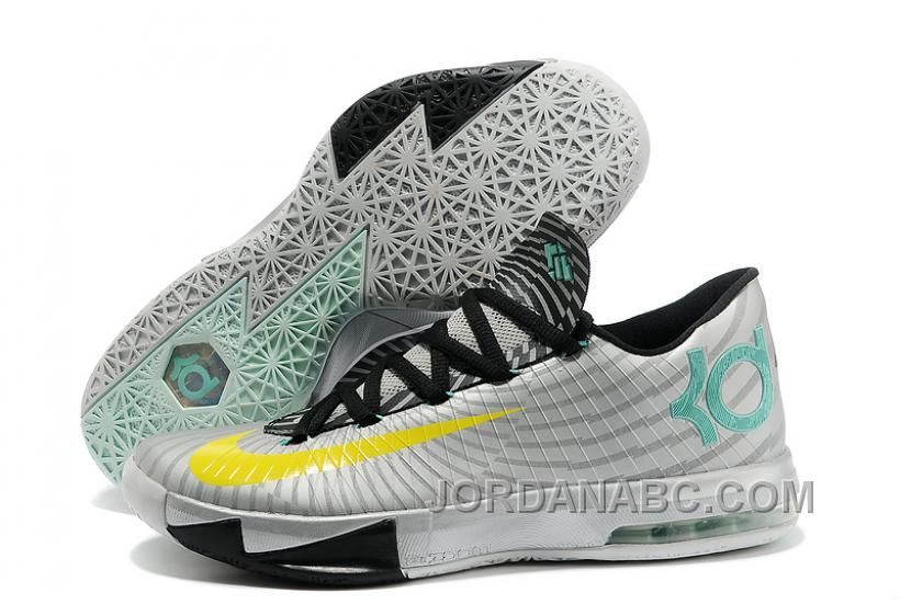 "6e0e198fe110 Nike Kevin Durant KD 6 VI ""Precision Timing"" Metallic  Silver Yellow-Black-Arctic Green"