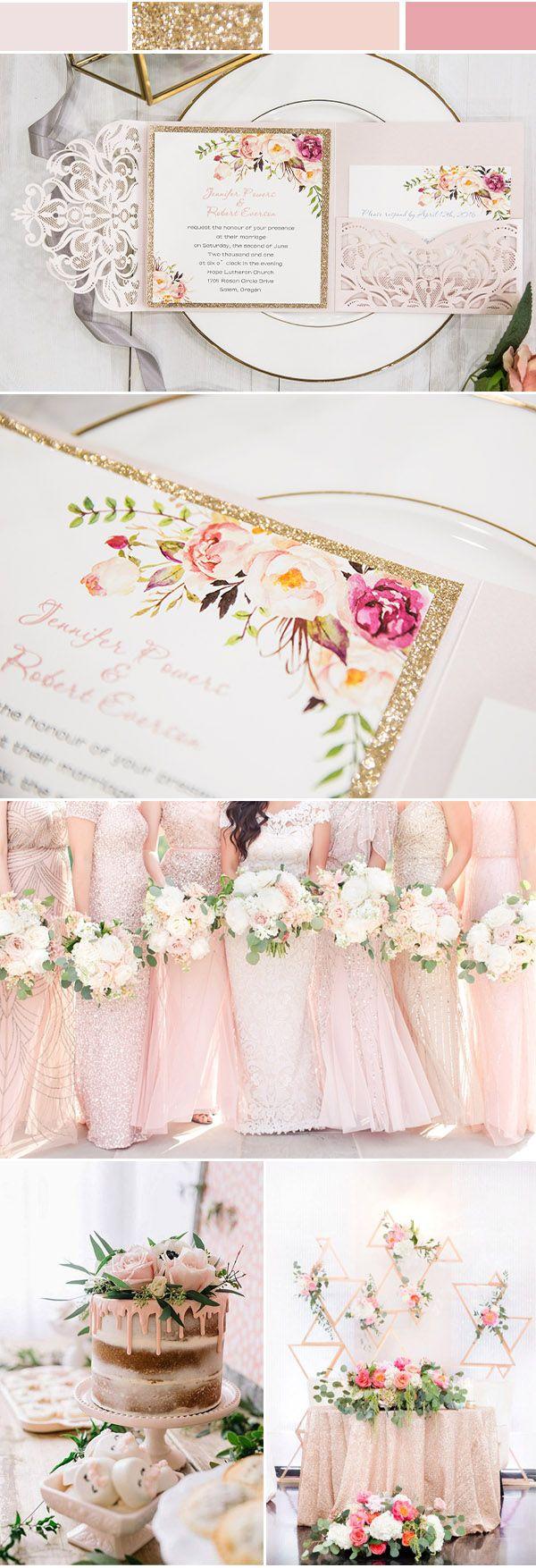 romantic blush pink spring flower glittery laser cut pocket wedding ...