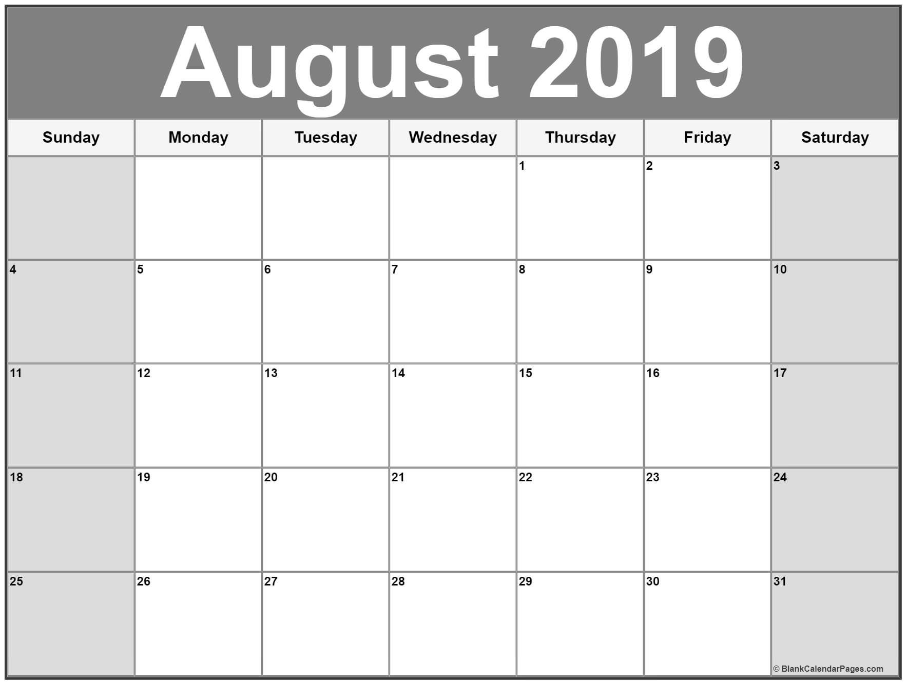 photograph regarding Free Printable Calendar August referred to as August 2019 calendar printable totally free Calendar printables