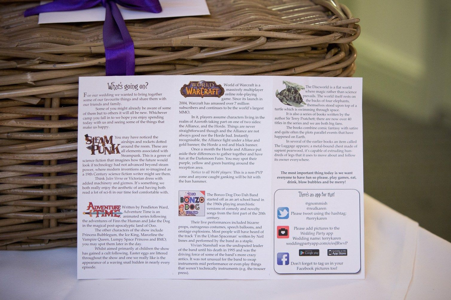 Let non-geeks in on the jokes with your geeky wedding program ...
