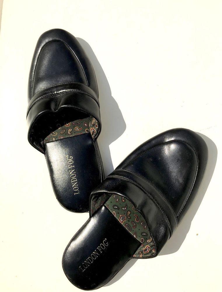 Mens Black London Fog Leather Sole